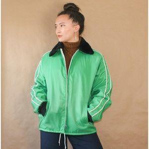 vtg 1970s green windbreaker jacket